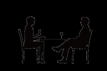 食事をするカップル